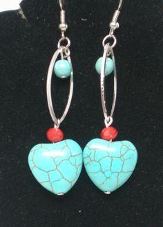 Dangle Earrings Ceramic Aqua Hearts Coral Beads BoHo by BagsnBling, $8.00