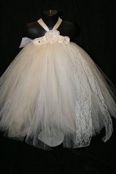 Ivory Tutu Dress Tutu Dress Flower Girl by LittleMissTrendyTutu, $26.00