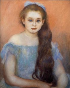 Portrait of a Young Girl - Pierre-Auguste Renoir,1887.  (Look at those eyes)