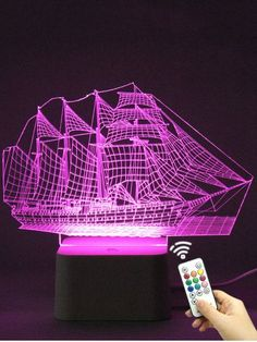 Colorful Visual LED Ship Shape Touch Night Light With Remote Control Acrylic Board, Led Night Light, Night Lights, Artificial Silk Flowers, Home Decor Online, Night Lamps, Lampe Led, Clothes Crafts, Diy Videos