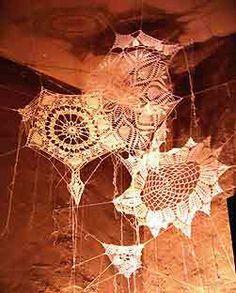 crocheted spider webs