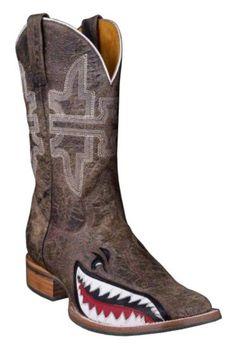 Tin Haul Gnarly Shark Cowboy Boots - Square Toe - Sheplers