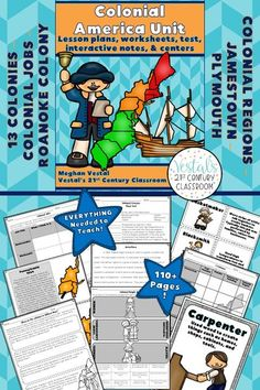 Colonial America Unit includes lesson plans, activities, and worksheets. #vestals21stcenturyclassroom #colonialamericaactivities #colonialamericaideas #colonialamericaunit #colonialamericaprojects #colonialamerica5thgrade #colonialamericamiddleschool #colonialamericaworksheets