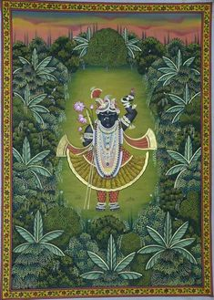 Shrinathji Swaroop Van Vihar - I Peacock Painting, Cow Painting, Music Painting, Silk Painting, Bal Krishna, Krishna Art, Shree Krishna, Radhe Krishna, Hanuman