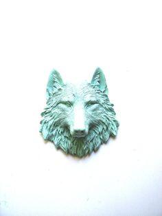 Faux Taxidermy Small Wolf Head Wall Hanging Wall by mahzerandvee