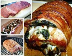 CHEESY STUFFED PORK - pork loin split and pounded thin, filled with awesome stuff and rolled up, and if you're really adventurous wrap that sucker in bacon. YUM!