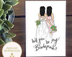 PDF Bridesmaid - Black hair Bride with Black Hair Bridesmaid, will you be my bridesmaid? proposal illustration, instant download