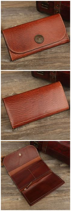 Hand Stitched Full Grain Vegetable Tanned Leather Long Wallet Women Purse