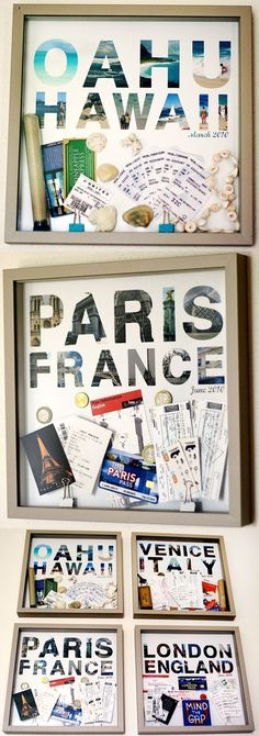 Awesome way to display keep-sakes, tickets, maps, and photos from trips!