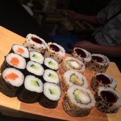 Sake Maki, Kappa Maki, Tempura Sushi #Sushi #Japanese #Food #nomnomnom #Asian #Lounge #Zwolle Zuid the #NetherlandsRoll and Ringo Unagi Roll