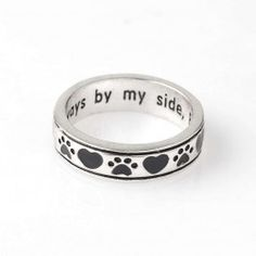 Dog Ring - Heart Ring For Dogs - Dog Jewelry Rings - Always By My Side - Forever In My Heart - Dog Jewelry. Jewelry for dog lovers or pet lovers. Dog Jewelry, Heart Jewelry, Jewelry Rings, Heart Ring, Jewlery, Paw Print Ring, Hand Gestempelt, Wrap, Dog Paws