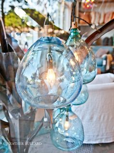 Blown Glass Pendant Lights Kind of obsessed with clustered hanging glass lamps lately.Kind of obsessed with clustered hanging glass lamps lately. Decor, Glass Lamp, Sea Glass Colors, Glass Blowing, Lights, Blown Glass Pendant Light, Light, Glass, Glass Lighting