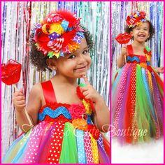Rainbow Tutu Dress-Candyland, candy land, tutu dress, rainbow, birthday party, polka dot, bright, fun and funky