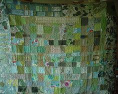 File:Green patchwork quilt sewn by hand.jpg