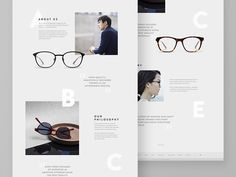 Eyewear Website - About Page designed by Catherine Irma Elita for Fixx Digital. Connect with them on Dribbble; the global community for designers and creative professionals. Design Sites, Web Design, Website Design Layout, Book Design Layout, Web Layout, Brochure Layout, Brochure Template, Graphic Design Templates, Freelance Graphic Design