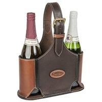 Hand made Leather Wine Bottle Carrier made in USA by Coblentz Leather in Amish Country, Ohio.