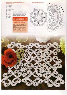 """ru / ConnieMounts - Альбом """"CR - Sonia - Ideas de ganchillo No Crochet Doily Diagram, Crochet Motif Patterns, Crochet Diy, Freeform Crochet, Crochet Squares, Thread Crochet, Filet Crochet, Irish Crochet, Crochet Designs"""