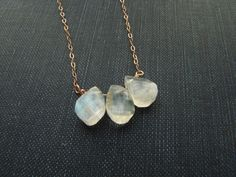 Moonstone Necklace, Rose Gold Necklace, Gold Necklace, Three Moonstone Drops Necklace  / 01 80011 NN