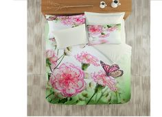 Lenjerii de pat Satinate : Lenjerie de pat bumbac satinat 3D Floral pentru 2 persoane     Lenjerii de pat