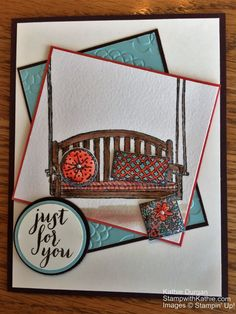 There was something about the new stamp set Sitting Here that intrigued me.  I have always loved a porch swing.  So I chose the colors from the Stamp Ink Paper challenge.  The sketch from Mojo Mond…