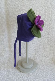 Child's purple fleece tie hat with your choice of silly top