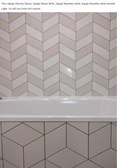 Equipe white tiles: Chevron, Chevron Brillo, Rhombus Smooth and patterned