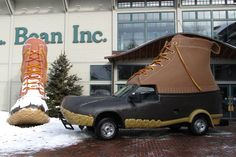 the l.l. bean bootmobile, via wary meyers lol