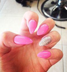 Pink Stiletto almond nails