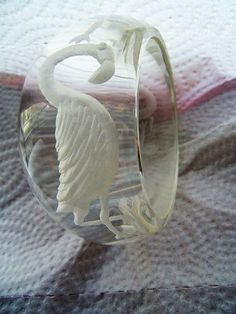 Prystal Lucite Bangle Bracelet Reverse Carved Flamingo Back Carved 3 Flamingos #GPaul #BangleBraceletBangleBracelet