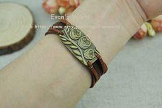 Cute three little birds charm bracelet.Brown cuff by Evanworld, $3.99
