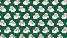 Fat Quarter Retro Santa Green Quilting Fabric - Makower