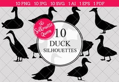 Duck Silhouette Clipart Vector includes PNG files with transparent backgrounds at The PNGs are approximately 10 inches at it's widest point. Duck Silhouette, Pine Tree Silhouette, Silhouette Clip Art, Silhouette Studio, Duck Breeds, Duck Pictures, Animal Cutouts, Duck Art, Printable Animals