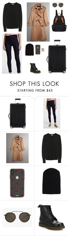 """""""13/02 - Arriving in Berlin"""" by agneskohler ❤ liked on Polyvore featuring Rimowa, rag & bone/JEAN, Burberry, Equipment, Sonix, The Elder Statesman and Dr. Martens"""