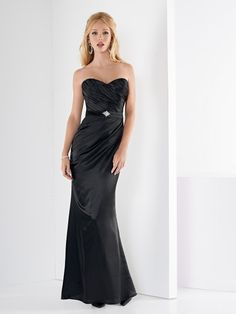 Jordan Fashions Black Bridesmaid Dress Style    929  Strapless Charmeuse  gown with draped bodice f9985ce12c9d