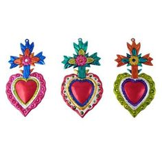 Heart ornament w. Prayer For Church, Sign Of The Cross, Heart Ornament, Mexican Folk Art, Love Symbols, Sacred Heart, Art Decor, Projects To Try, Valentines