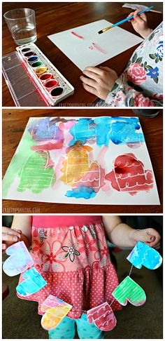 Easy and cute winter craft for kids. Crayon Resist Mittens Garland.