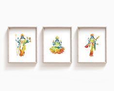 Durga, Lakshmi, and Saraswati Goddess Print Set Saraswati Goddess, Original Art, Original Paintings, Chakra Art, Yoga Gifts, Yoga Art, Hindu Art, Art Prints, Etsy