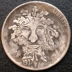 David Jones - Mighty as an Oak Hobo Nickel, Green Man, David Jones, Buffalo, Classic Style, Coins, Carving, Cactus, Men