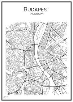 Budapest. Ungern. Hungary. Karta. City print. Print. Affisch. Tavla. Tryck.