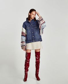 Image 1 of DENIM JACKET WITH CONTRASTING SLEEVES from Zara
