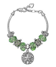 Love this Green & Silvertone Crystal Sand Dollar Bracelet on #zulily! #zulilyfinds