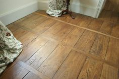 Old French beeswaxed floors; love the wide planks and smaller perpendicular strips