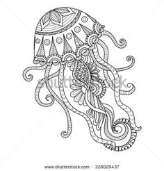 Hand drawn jellyfish zentangle style for coloring book, shirt design or tattoo - stock vector