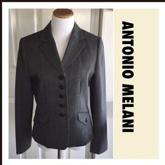 Antonio Melani Blazer Very lightweight wool with polyester lining. Worn twice & looks brand new. Herringbone pattern. Matching slacks listed separately because sizes are different.  Posh Rules  No Trades   No Pay Pal  Reasonable Offers Accepted   Smoke Free Home  No offers via comments please  Unless otherwise noted my clothing is gently used ANTONIO MELANI Jackets & Coats Blazers