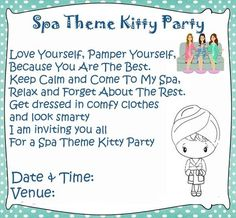 Kitty party invitation ideas for indian kitty party game spa theme kitty party games and ideas stopboris Gallery