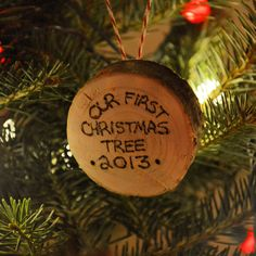 Christmas tree stump ornament. Saw another pin where someone did this. Saved a block from our first tree and turned into an ornament the next year. Writing is done with wood burning pen. Simple way to make memories.