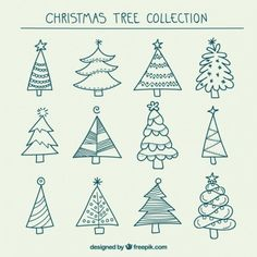 Free vector Hand drawn christmas trees collection #25237