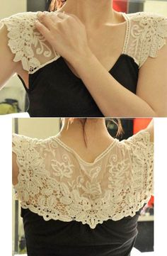 What a fun way to dress up or transform a simple shirt! Check out our lace section online: www.farmhousefabrics.com