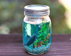 under the sea birthday party | mason jar aquarium | ocean party | aquarium favor |