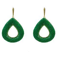 Stingray Hollow Teardrop Earring Emerald Green | Latelita London | Wolf & Badger